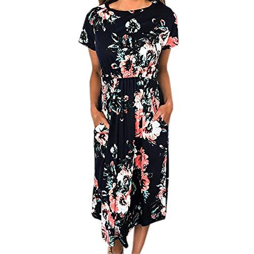 Robert Reyna Comfy Floral Print Dress Short Sleeve Women Summer Mid-Calf Dresses Loose Dress,Medium,Black