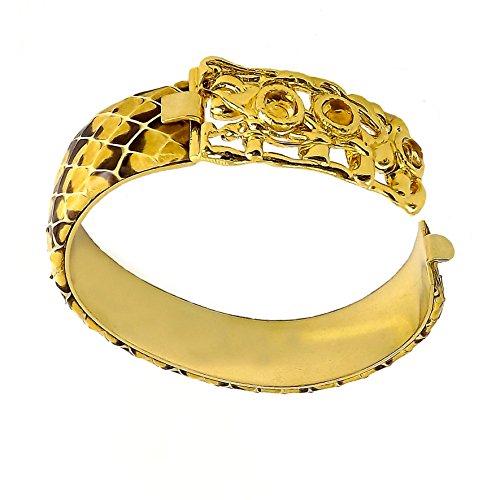 """V.M. Preziosi Firenze Bracelet """"Treee Yellow"""" de laiton doré avec quartz naturel et de reptile"""