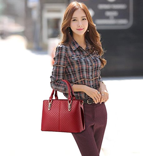 Ladies D PU Handbag Leather Red with Tibes Shoulder Strap dawOqd