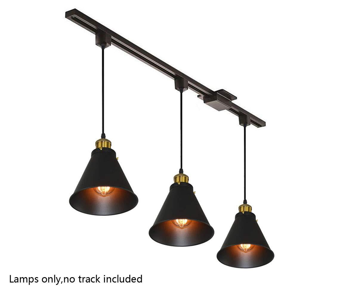 Kiven H-Type Track Lignting Pendant Antique Industrial Oil Rubbed Bronze Pendant Light 3 Pack,TB0132-B-80CM