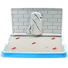 Qianle Pet Toilet Dog Potty with Wall Indoor Puppy Training Tray Pad Holder Blue