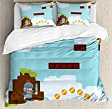Video Games Duvet Cover Set by Ambesonne, Arcade World Kids 90's Fun Theme Knight with Sword Fireball Bonus Stars Coins, 3 Piece Bedding Set with Pillow Shams, King Size, Multicolor
