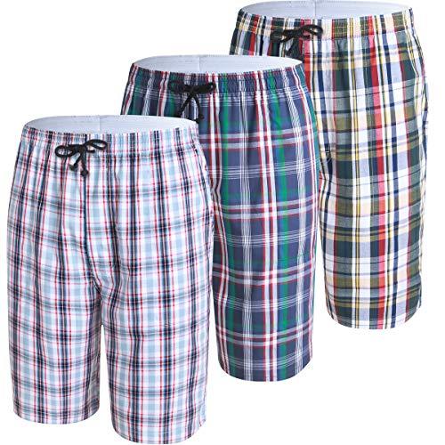 (JINSHI Mens Lounge Sleep Shorts Relaxed Pajamas Plaid Poplin Woven 3Pack Cotton Size L)