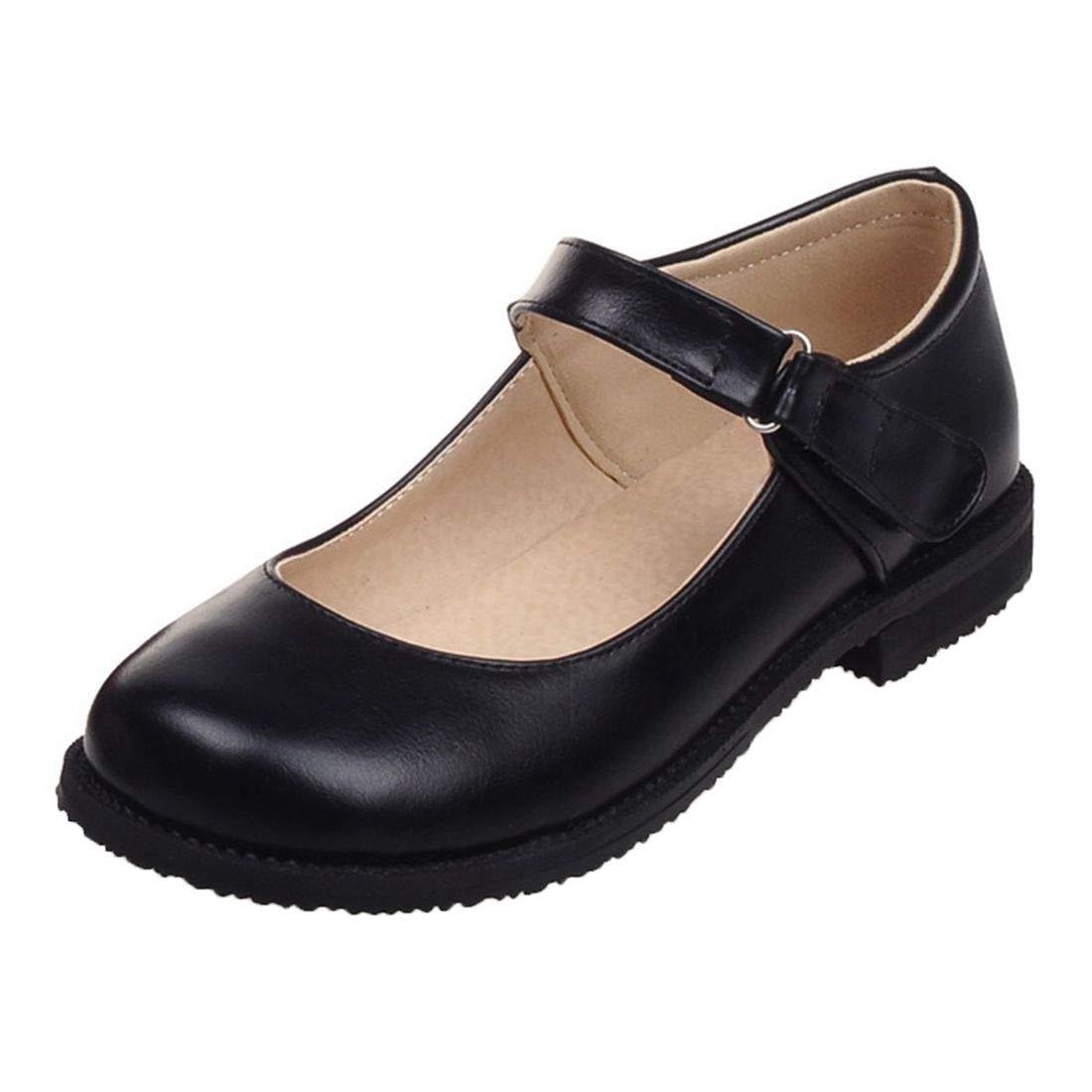 Vitalo Womens Round Toe Mary Jane Flats JK Uniform Dress Shoes Size 8.5 B(M) US,1 Black by Vitalo