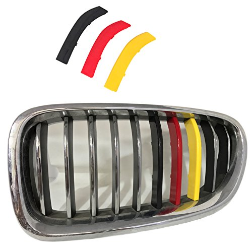 lanyun Grille Insert Trims stripes cover m color Decorate for BMWFor BMW F10 F11 5 Series 528i 535i 550i with Standard Center Chrome Kidney Grill 10 Beams (yellow color 10-16 F10 F11 5 series 10-B) ()