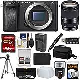 Sony Alpha A6300 4K Wi-Fi Digital Camera Body (Black) 18-200mm LE Lens + 64GB Card + Case + Flash + Diffuser + Battery/Charger + Tripod + Kit