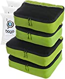 Clothing Accessories Luggage Best Deals - Packing Bags 4pcs Value Set luggage cubes - Plus 6pcs waterproof Zip Bags (Green)
