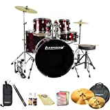 Ludwig Accent Fuse 5-Pc Fusion Size Drum Set with Zildjian Cymbals & ChromaCast Accessories, Wine Red Sparkle