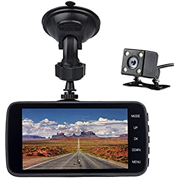 """Veoker Full HD 1080P Car Dash Cam 170° Wide Angle 4"""" LCD Dashboard Camera DVR Video Recorder Dual Lens Front+Rear with Parking Mode,Night Mode,Loop Recording,G-Sensor"""