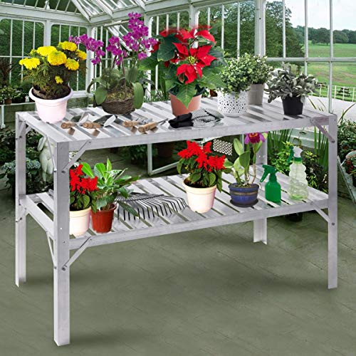 Heavy Duty Aluminum Garden Workbench Storage Shelf 2 Tier Design Greenhouse Shelves Flowers Potting Tools Versatile Multifunction Table Perfect For Balcony Patio Deck Backyard Use Lightweight Durable