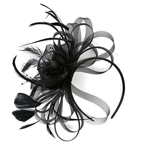 Vintage Fascinators Hat Women Kentucky Derby Headband Feathers Flwoer Hair Clip Tea Party Wedding Cocktail Headwear Black