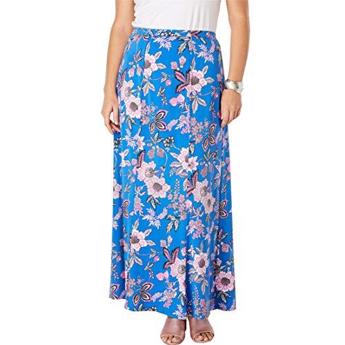 Jessica London Women's Plus Size Travel Knit Maxi Skirt - Fuchsia Jacobean Floral, 18/20