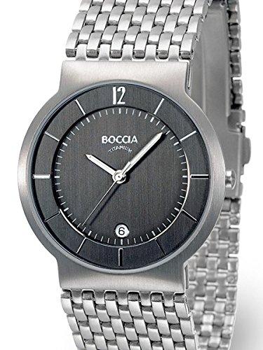 Boccia Mens Silver Quartz Watch with 37mm Titanium Case and Matching Bracelet 3514-04
