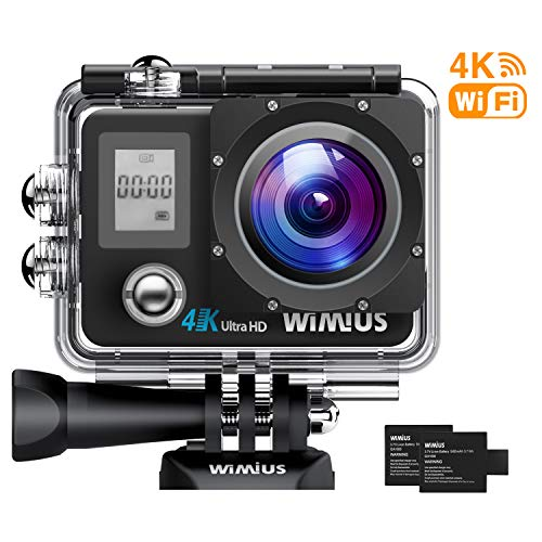 WiMiUS Action Camera 4K 16MP Dual Screen 131 Feet Underwater Camcorders WiFi Bicycle Helmet Cameras 2 Pcs Rechargeable Batteries Waterproof Case with Kit of Accessoriess, Black WiMiUS