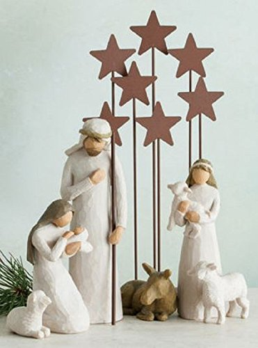 Willow Tree Nativity Holy Family with Metal Star Backdrop Figurines 7 Piece Set by Willow Tree Nativity