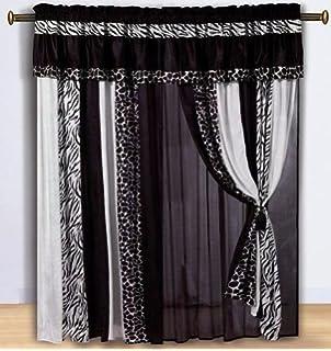 Chezmoi Collection Black And White Micro Fur Zebra With Giraffe Design  Window Curtain/Drape Set