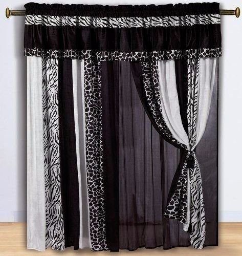 Black & White Micro Fur Zebra and Giraffe Curtain Set