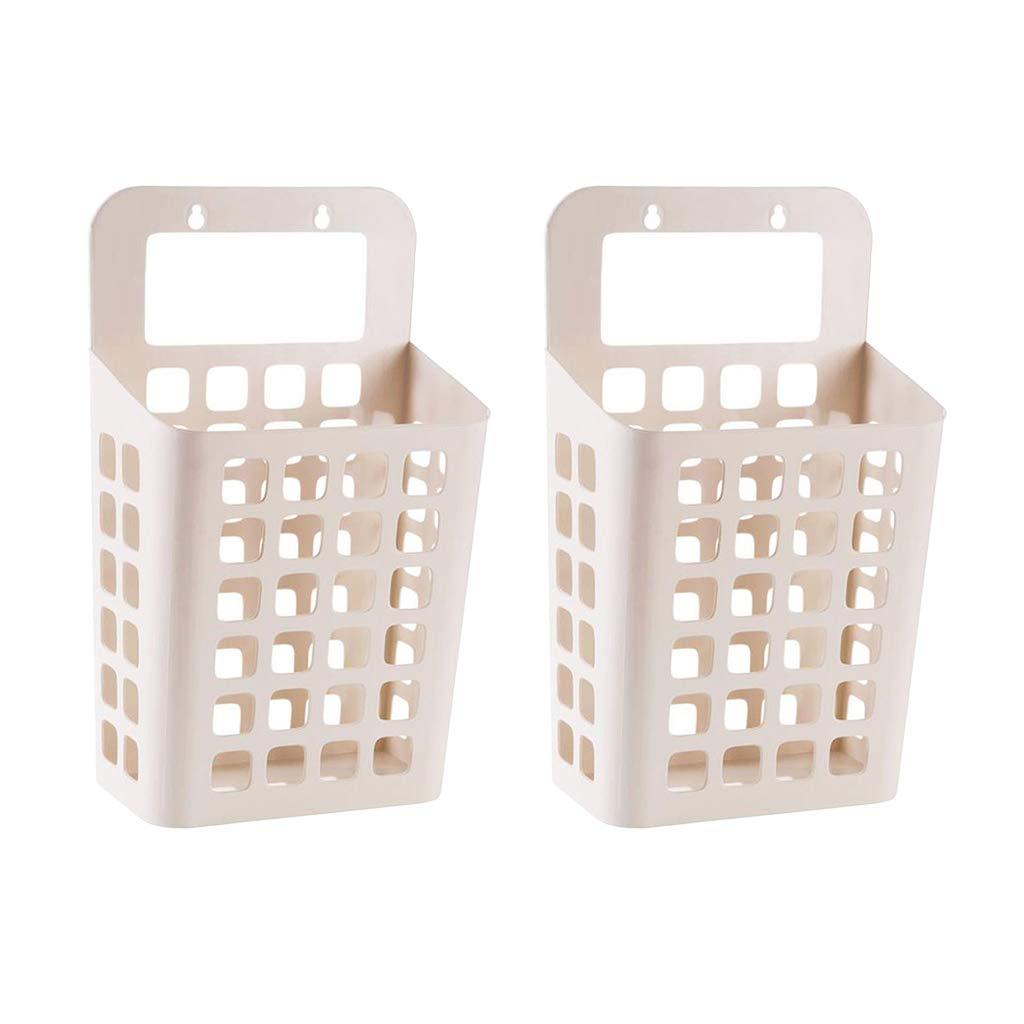 Homyl 2pcs Beige Hanging Laundry Hamper Clothes Storage Basket with Handle to Carry Wall Mounted Container by Homyl