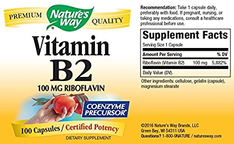Natures Way, Vitamin B2 - 100mg x100caps: Amazon.es: Salud y cuidado personal