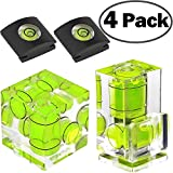 Hot Shoe Level,ChromLives Camera Bubble Level Hot Shoe Bubble Level Combo Pack 3 Axis 2 Axis 1 Axis for DSLR Film Camera Canon Nikon Olympus (4Pack)