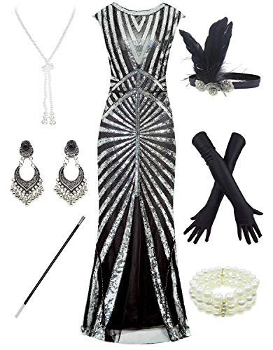 Women 1920S Gatsby Sequin Mermaid Formal Evening Dress with 20s Accessories Costume (XL, Black ()