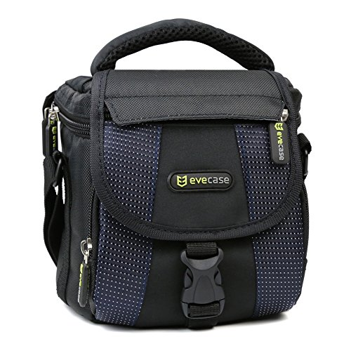Evecase Small Camera Shoulder Bag, Travel Compact Padded Crossbody Case for Sony Nikon Canon DSLR Mirrorless Instant Cameras Lens and More - Protective Olympus Case