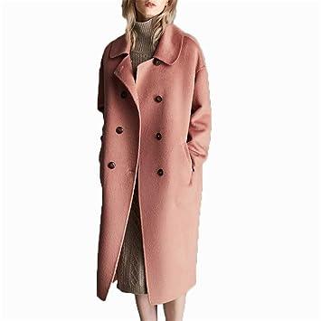 HCMONSTER Abrigo de Lana Abrigo de Invierno de otoño Mujer Alpaca 90% Oveja Chaqueta Coreana