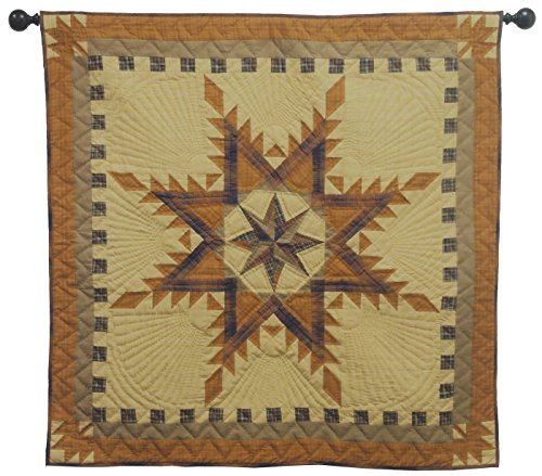 Quilted Wall Hanging (Autumn Star Wall Hanging Quilt 44 Inches by 44 Inches 100% Cotton Handmade Hand Quilted Heirloom)
