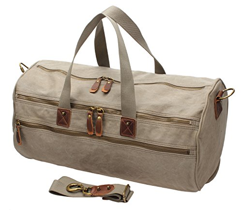 Men Canvas Weekender Overnight Bag Travel Duffle Gym Tote A740 (Army Green) by MSG (Image #1)