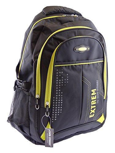 NB24 Bag Street Sportlicher Rucksack (4031), schwarz-gelb, ca. 46 x 30 x 16 cm, gepolstertes Laptopfach, Damen und Herren Tasche, Schultasche, Schulrucksack, Freizeittasche, Sporttasche