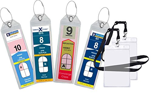 Cruise Luggage Tag Holder Zip Seal & Steel - Royal Caribbean & Celebrity Cruise (4 Pack + 2 ID Holders)