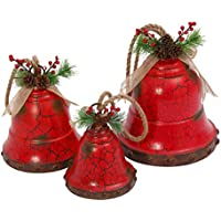 GIL 2350090 S/3 Metal Rope Hanging Red HOL Christmas, 9.3InL x 9InW x 12.5InH