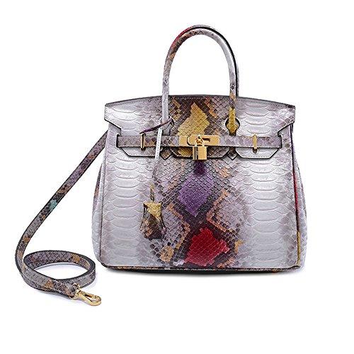 Women Top Handle Satchel Handbags Tote Purse Luxury Fashion Snakeskin Grain Tote Leather Ladies Bag (Snakeskin Tote Print)