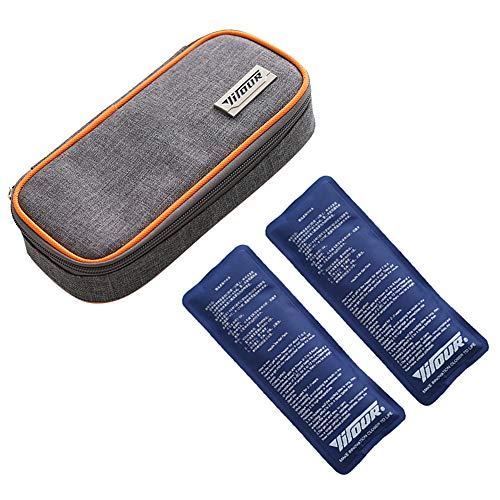 Insulin Cool Storage Bag Diabetic Organizer Portable Medical Travel Cooler Case with 2 Ice Packs