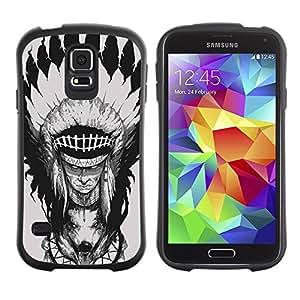 """Hypernova Slim Fit Dual Barniz Protector Caso Case Funda Para Samsung Galaxy S5 [Pluma Jefe Decoración del tótem del lobo""""]"""