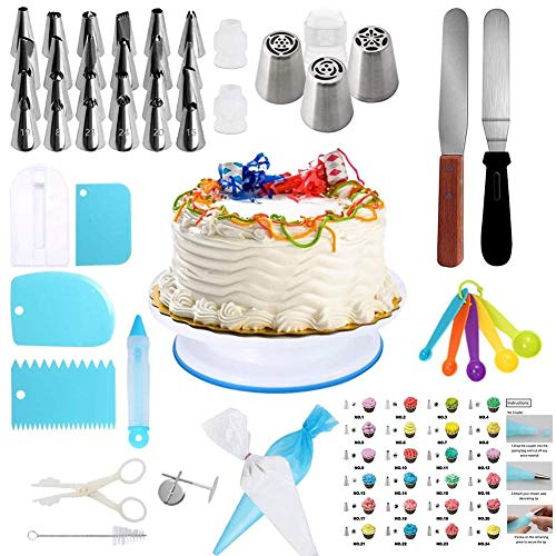 sweet dream 75 Pcs Cake Decorating Supplies Kit, Stainless Steel Revolving Cake Stand with 24 Cake Pastry nozzles 3 Russian Pastry nozzles for Cupcakes -