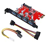 Image of Inateck Superspeed 4 Ports PCI-E to USB 3.0 Expansion Card - Interface USB 3.0 4-Port Express Card Desktop with 15 Pin SATA Power Connector, [ Include with A 4pin to 2x15pin Cable + A 15pin to 2x 15pin SATA Y-Cable ]