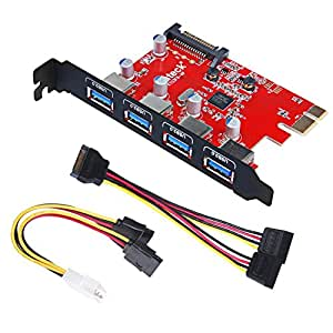 Inateck Superspeed 4 Ports PCI-E to USB 3.0 Expansion Card - Interface USB 3.0 4-Port Express Card Desktop with 15 Pin SATA Power Connector, [ Include with A 4pin to 2x15pin Cable + A 15pin to 2x 15pin SATA Y-Cable ]