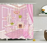 Ambesonne Teen Girls Decor Collection, Princess Dressing Room in Palace Luxurious Design with Chandelier Fireplace Design Print, Polyester Fabric Bathroom Shower Curtain, 84 Inches Extra Long, Pink