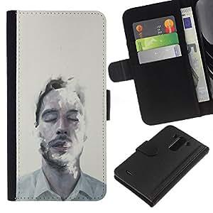 iBinBang / Flip Funda de Cuero Case Cover - Hombre Retrato Cara Mist Arte Ojos Cerrados - LG G3