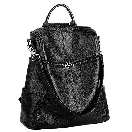 YALUXE Women's Convertible Real Leather Backpack Versatile Shoulder Bag (Upgraded 2.0) - Shoulder One Handbag Leather