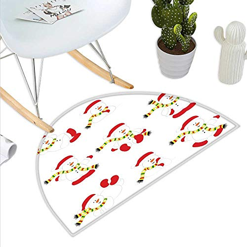 Anniutwo Christmas Half Round Door mat Outdoor Cute Snowman with Scarf Collection Different Funny Poses Noel Festivities Half Round Front Door mat Red White Green ()