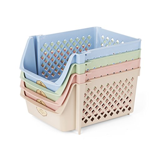 Titan Mall Storage Bins Plastic Stackable Storage Bins for Food, Fruits, Files, Mixed Color Storage Baskets, 15 X 10 X 7 Inch/bin, Blue-Green-Pink-Khaki, Set of 4 by Titan Mall (Image #2)