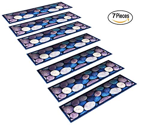 "StepBasic Non-Slip Rubber Backed Slip Resistant Anti-Bacterial Stair Mat - Set of 7 - ( 8.5"" x 26"" ) (Pebble)"