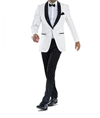 2bbf75682446 Botong White Jacket Black Pants Groomsmen Suit 2 Pieces Shawl Lapel Men  Suits at Amazon Men's Clothing store: