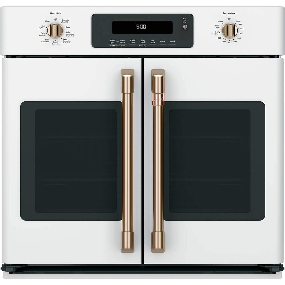 "Cafe 30"" Matte White Built-In French-Door Single Convection Wall Oven"