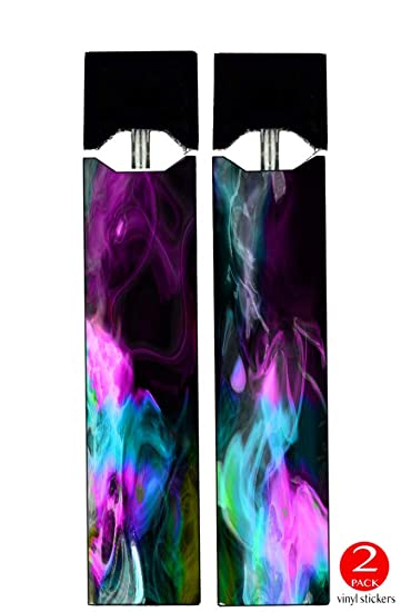 Juul Vape (2 Pack) - Vinyl Decal Stickers - Colorful Color Smoke Blue Teal  Pink White Green Yellow - Skin Wrap
