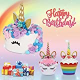 Unicorn Cake Toppers Set Includes Cupcake Toppers & Wrappers (Set of 24) and Unicorn Cake Topper Party Supplies Cake Decoration Kit for Baby Shower, Wedding and Birthday