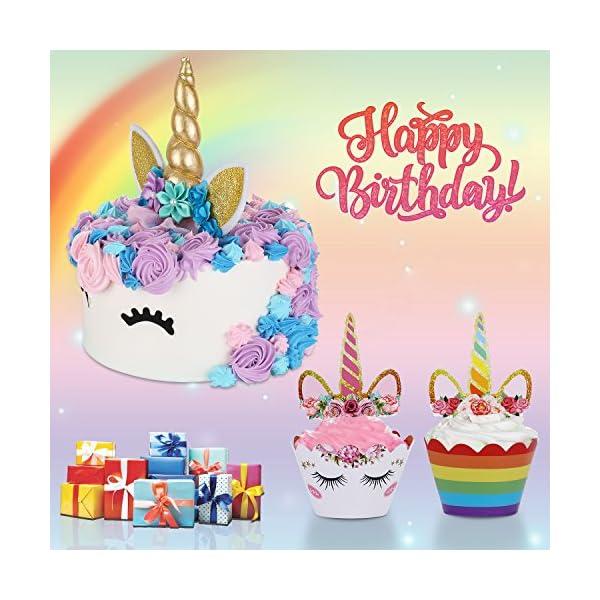 Unicorn Cake Topper with Eyelashes and Unicorn Cupcake Toppers & Wrappers Set - Unicorn Party Decorations Kit for… 7