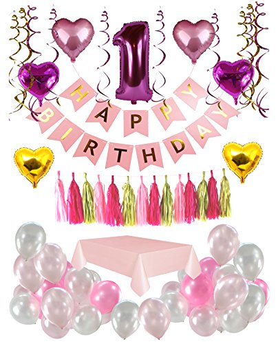 1st Birthday girl Decorations kit- Complete 60 Pcs set Party Decoration- First Birthday girl Giant Number One Balloon- Pink Happy Birthday Banner- Latex and Star Foil Balloons- Hanging Swirls- Tassel